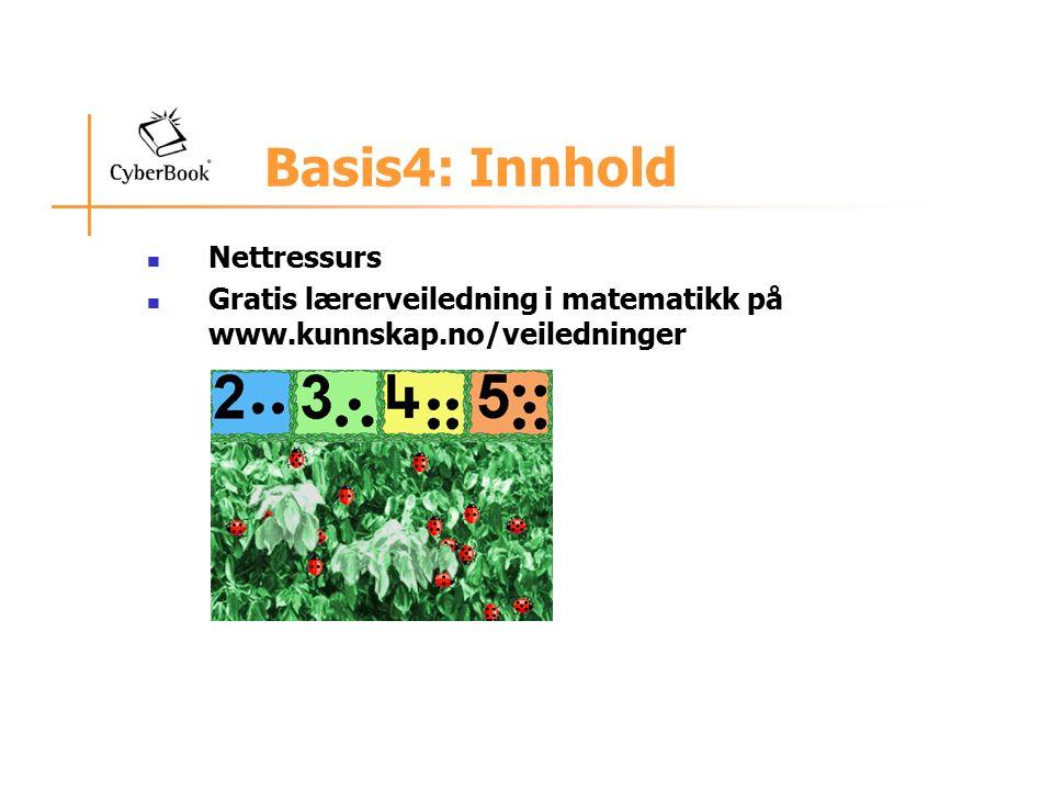 Basis4: Innhold Nettressurs Gratis lærerveiledning i matematikk på www.kunnskap.no/veiledninger
