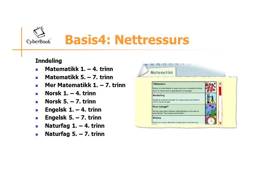 Basis4: Nettressurs Inndeling Matematikk 1.– 4. trinn Matematikk 5.