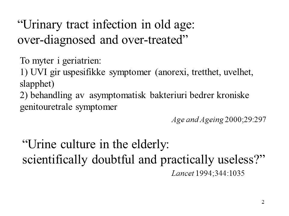 23 Referanser: 1.Nicolle LE, et al. Asymptomatic bacteriuri in the elderly.