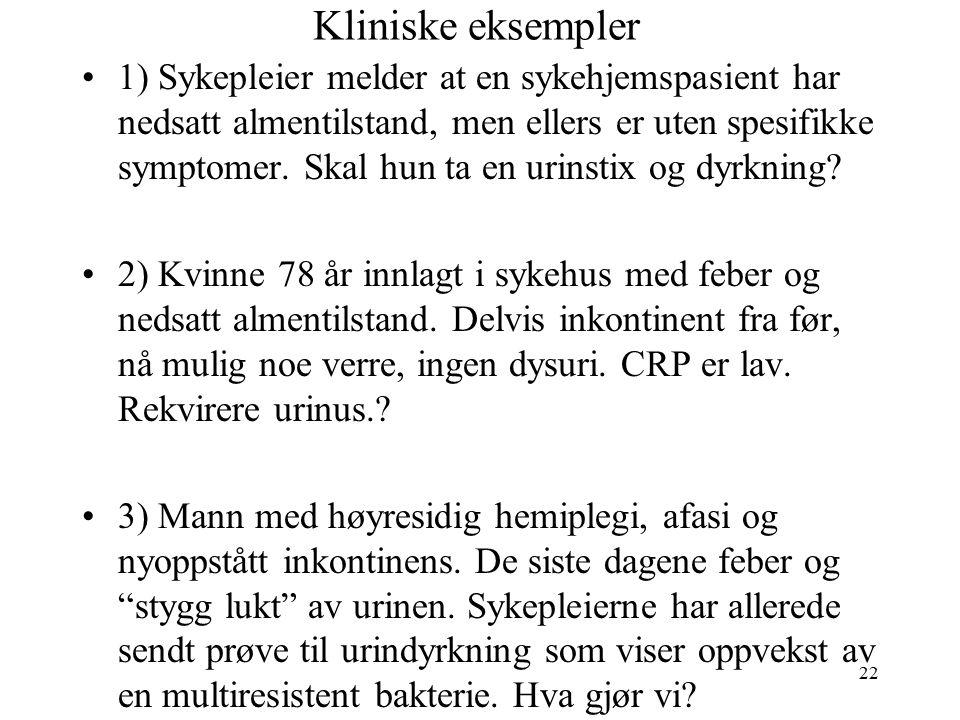 22 Kliniske eksempler 1) Sykepleier melder at en sykehjemspasient har nedsatt almentilstand, men ellers er uten spesifikke symptomer.