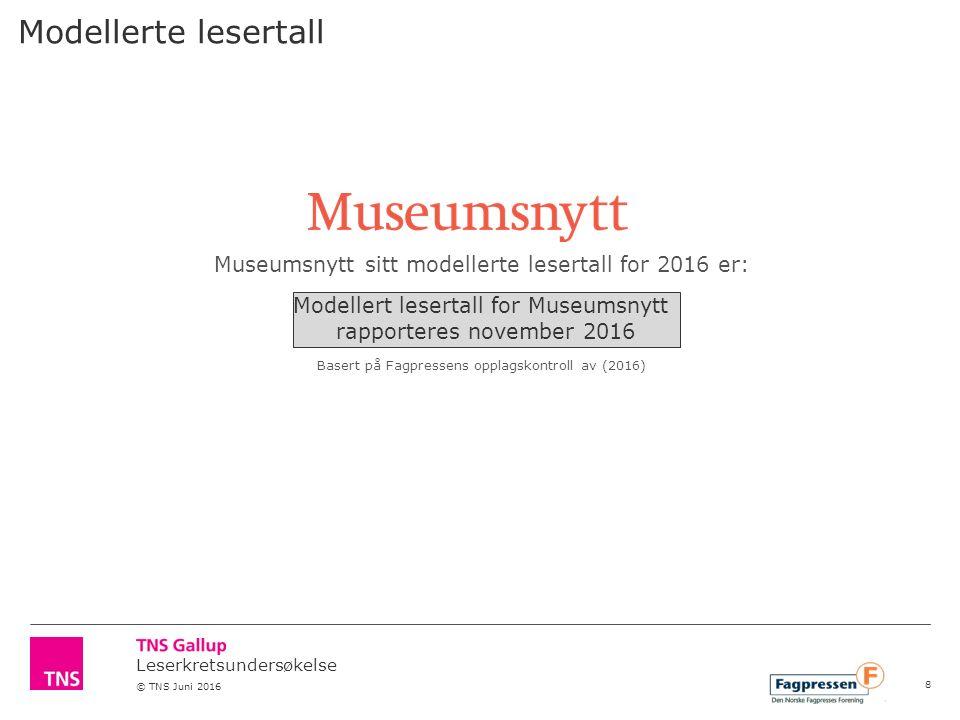 Leserkretsundersøkelse © TNS Juni 2016 Museumsnytt sitt modellerte lesertall for 2016 er: Xxx Basert på Fagpressens opplagskontroll av (2016) Modellerte lesertall Modellert lesertall for Museumsnytt rapporteres november 2016 8