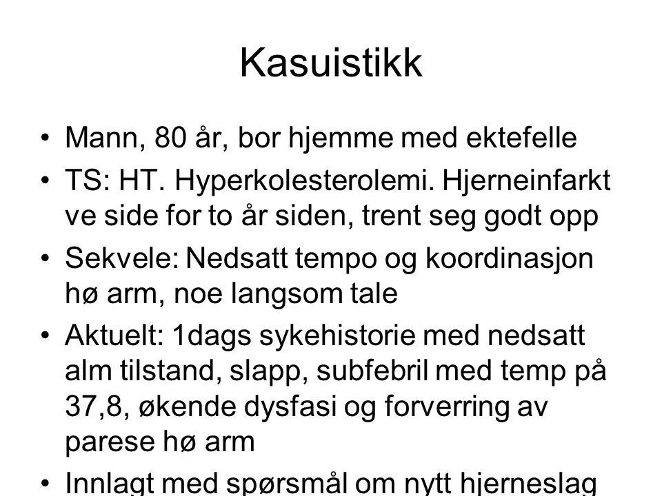 Kasuistikk Mann, 80 år, bor hjemme med ektefelle TS: HT.