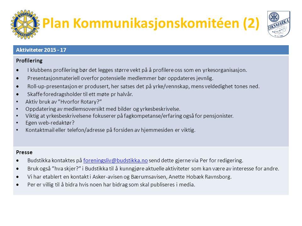 Plan Kommunikasjonskomitéen (2) Aktiviteter 2015 - 17 Profilering  I klubbens profilering bør det legges større vekt på å profilere oss som en yrkesorganisasjon.