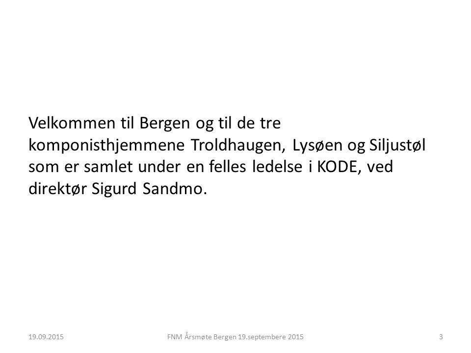 Velkommen til Bergen og til de tre komponisthjemmene Troldhaugen, Lysøen og Siljustøl som er samlet under en felles ledelse i KODE, ved direktør Sigurd Sandmo.