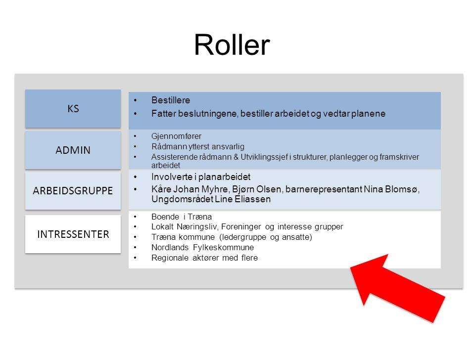 Roller KS ADMIN ARBEIDSGRUPPE INTRESSENTER Bestillere Fatter beslutningene, bestiller arbeidet og vedtar planene Gjennomfører Rådmann ytterst ansvarli
