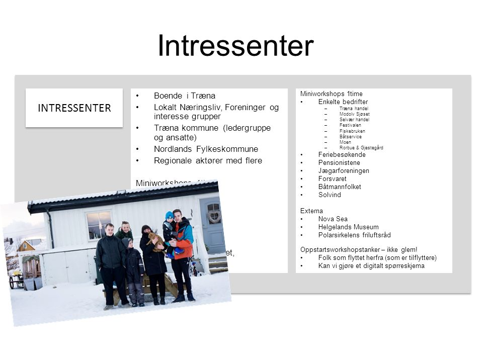 Intressenter INTRESSENTER Boende i Træna Lokalt Næringsliv, Foreninger og interesse grupper Træna kommune (ledergruppe og ansatte) Nordlands Fylkeskom