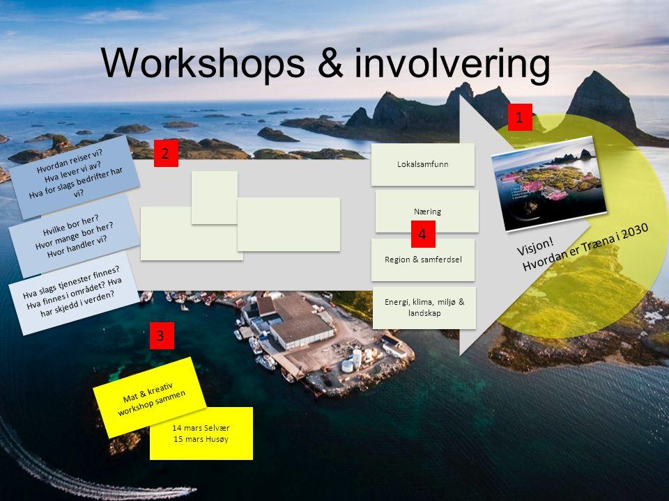 Workshops & involvering Hvordan reiser vi? Hva lever vi av? Hva for slags bedrifter har vi? Hvordan reiser vi? Hva lever vi av? Hva for slags bedrifte