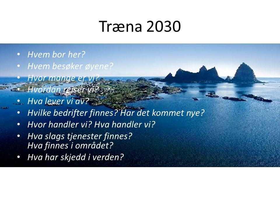 Træna 2030 Hvem bor her? Hvem besøker øyene? Hvor mange er vi? Hvordan reiser vi? Hva lever vi av? Hvilke bedrifter finnes? Har det kommet nye? Hvor h