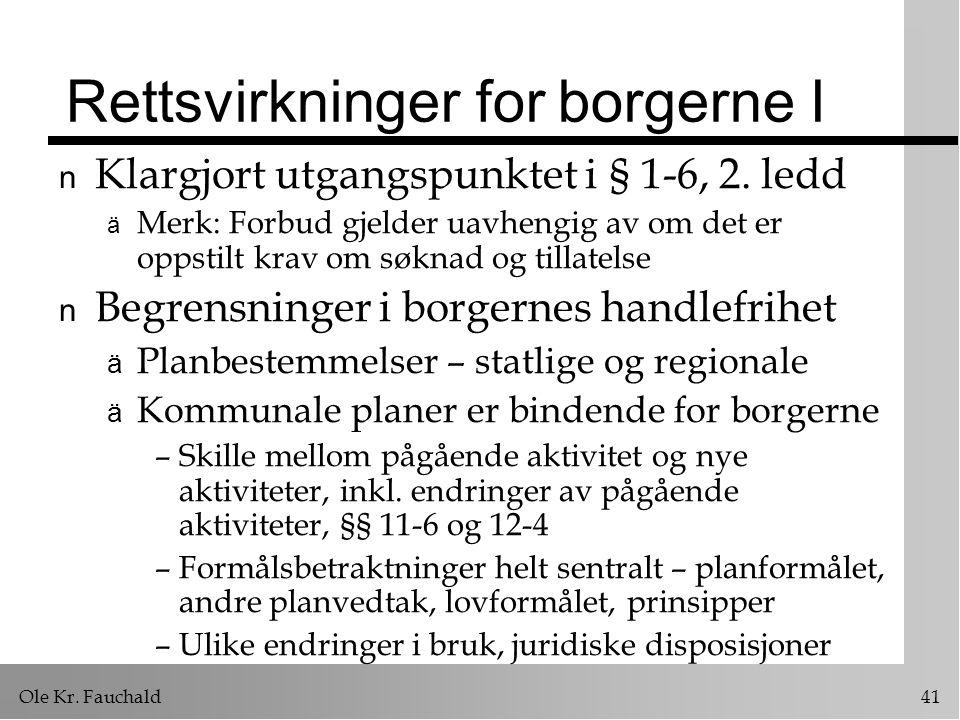 Ole Kr.Fauchald 41 Rettsvirkninger for borgerne I n Klargjort utgangspunktet i § 1-6, 2.