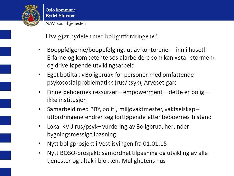 Oslo kommune Bydel Stovner NAV sosialtjenesten Hva gjør bydelen med boligutfordringene? Booppfølgerne/booppfølging: ut av kontorene – inn i huset! Erf