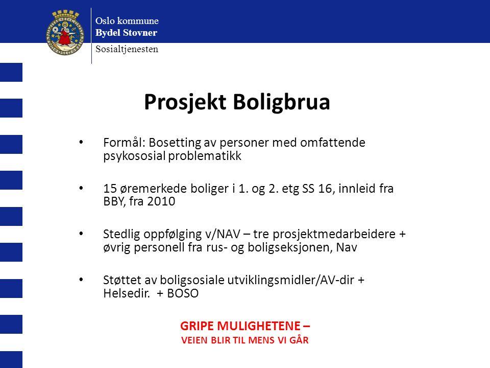 Oslo kommune Bydel Stovner Sosialtjenesten Prosjekt Boligbrua Formål: Bosetting av personer med omfattende psykososial problematikk 15 øremerkede boliger i 1.