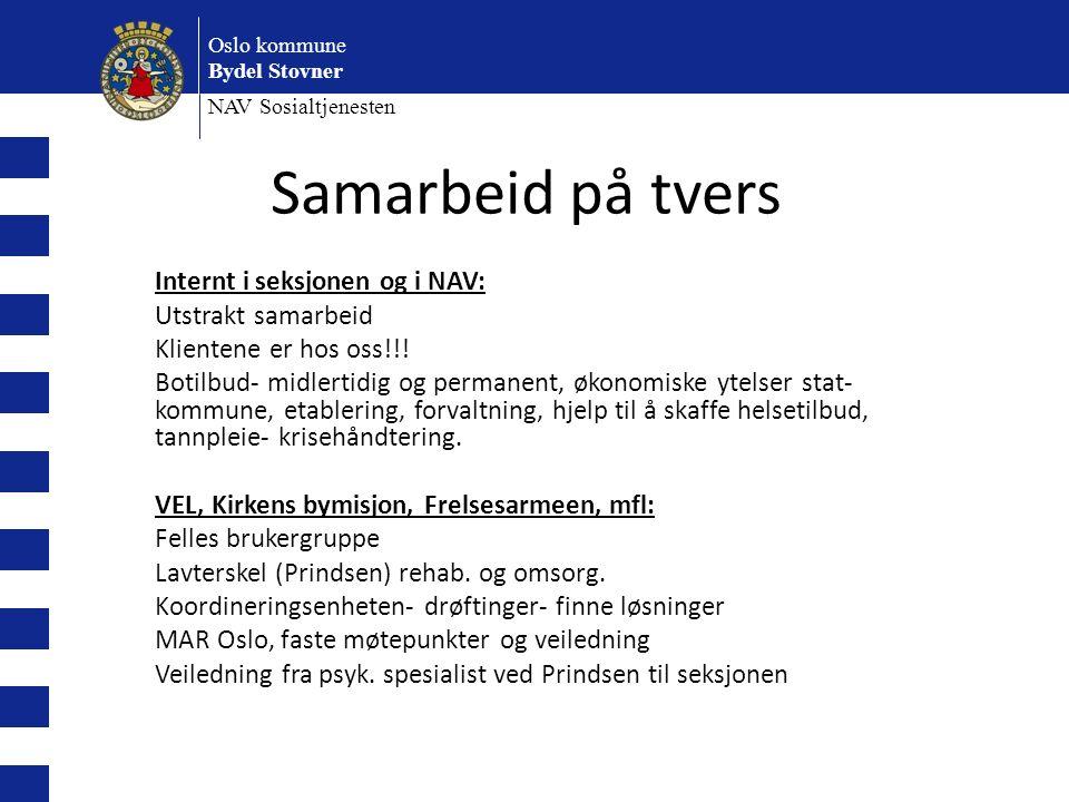 Oslo kommune Bydel Stovner NAV Sosialtjenesten Internt i seksjonen og i NAV: Utstrakt samarbeid Klientene er hos oss!!.