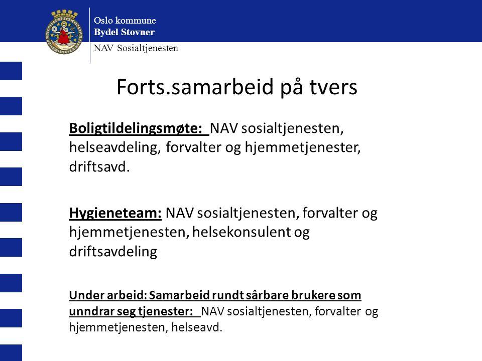Oslo kommune Bydel Stovner NAV Sosialtjenesten Boligtildelingsmøte: NAV sosialtjenesten, helseavdeling, forvalter og hjemmetjenester, driftsavd.