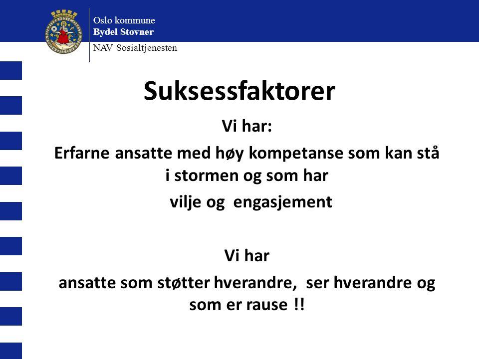 Oslo kommune Bydel Stovner NAV Sosialtjenesten Suksessfaktorer Vi har: Erfarne ansatte med høy kompetanse som kan stå i stormen og som har vilje og engasjement Vi har ansatte som støtter hverandre, ser hverandre og som er rause !!