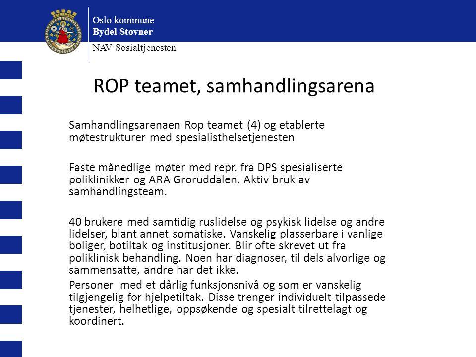 Oslo kommune Bydel Stovner NAV Sosialtjenesten Samhandlingsarenaen Rop teamet (4) og etablerte møtestrukturer med spesialisthelsetjenesten Faste månedlige møter med repr.