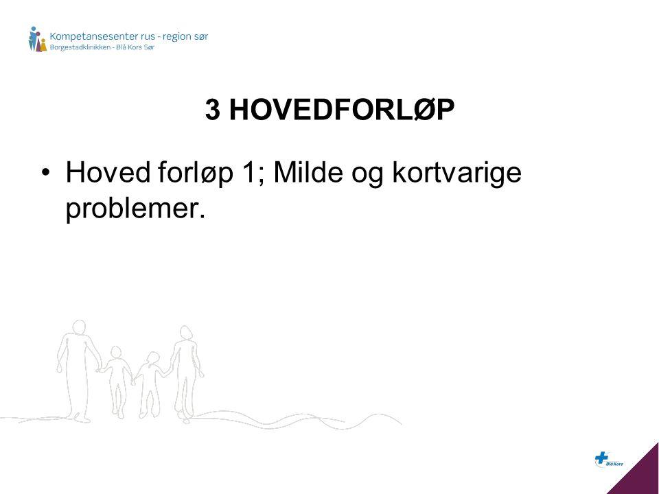 3 HOVEDFORLØP Hoved forløp 1; Milde og kortvarige problemer.
