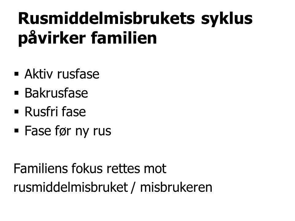 Rusmiddelmisbrukets syklus påvirker familien  Aktiv rusfase  Bakrusfase  Rusfri fase  Fase før ny rus Familiens fokus rettes mot rusmiddelmisbruket / misbrukeren
