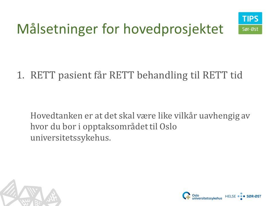 Målsetninger for hovedprosjektet 1.RETT pasient får RETT behandling til RETT tid Hovedtanken er at det skal være like vilkår uavhengig av hvor du bor i opptaksområdet til Oslo universitetssykehus.