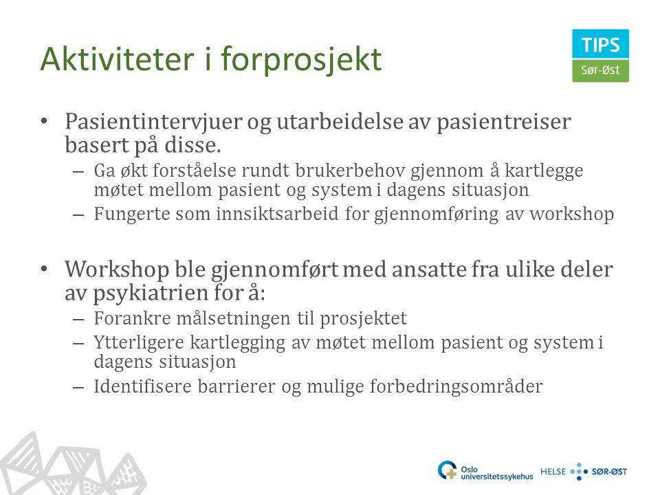 Aktiviteter i forprosjekt Pasientintervjuer og utarbeidelse av pasientreiser basert på disse.
