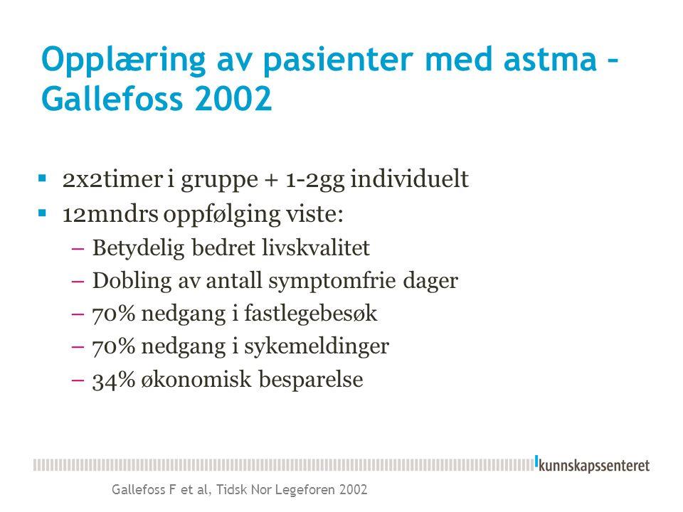 Gallefoss F et al, Tidsk Nor Legeforen 2002 Opplæring av pasienter med astma – Gallefoss 2002  2x2timer i gruppe + 1-2gg individuelt  12mndrs oppfølging viste: –Betydelig bedret livskvalitet –Dobling av antall symptomfrie dager –70% nedgang i fastlegebesøk –70% nedgang i sykemeldinger –34% økonomisk besparelse