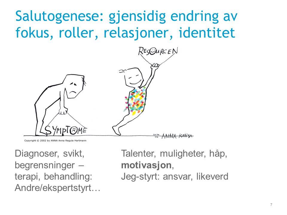 7 Salutogenese: gjensidig endring av fokus, roller, relasjoner, identitet Diagnoser, svikt, begrensninger – terapi, behandling: Andre/ekspertstyrt… Ta