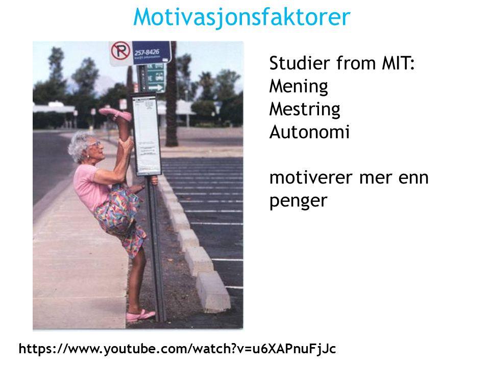Motivasjonsfaktorer Studier from MIT: Mening Mestring Autonomi motiverer mer enn penger https://www.youtube.com/watch v=u6XAPnuFjJc