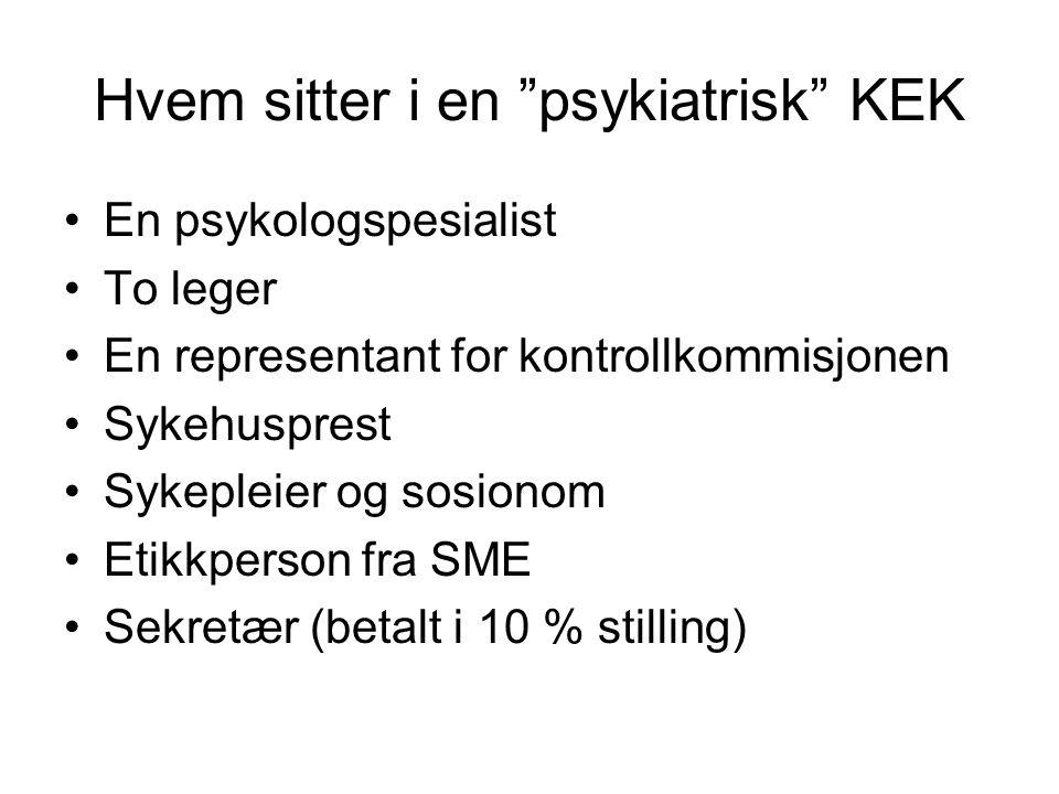 """Hvem sitter i en """"psykiatrisk"""" KEK En psykologspesialist To leger En representant for kontrollkommisjonen Sykehusprest Sykepleier og sosionom Etikkper"""