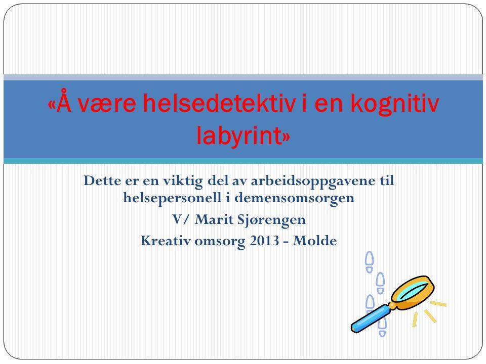 Dette er en viktig del av arbeidsoppgavene til helsepersonell i demensomsorgen V/ Marit Sjørengen Kreativ omsorg 2013 - Molde «Å være helsedetektiv i