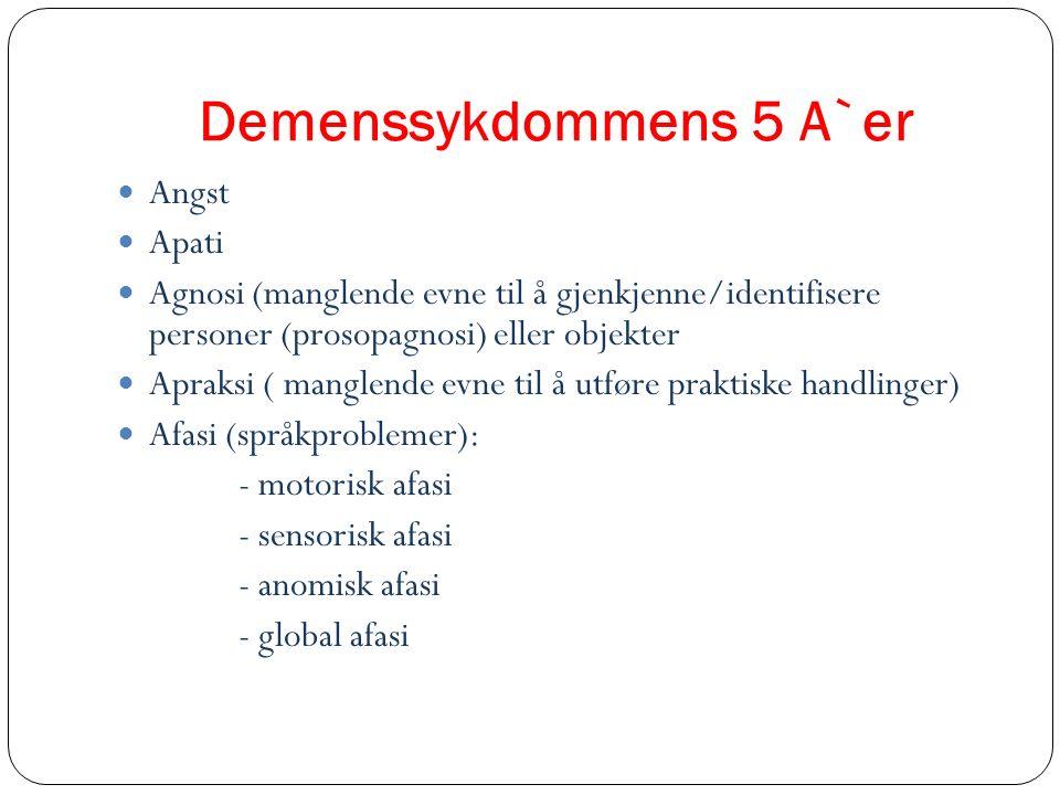 Demenssykdommens 5 A`er Angst Apati Agnosi (manglende evne til å gjenkjenne/identifisere personer (prosopagnosi) eller objekter Apraksi ( manglende ev