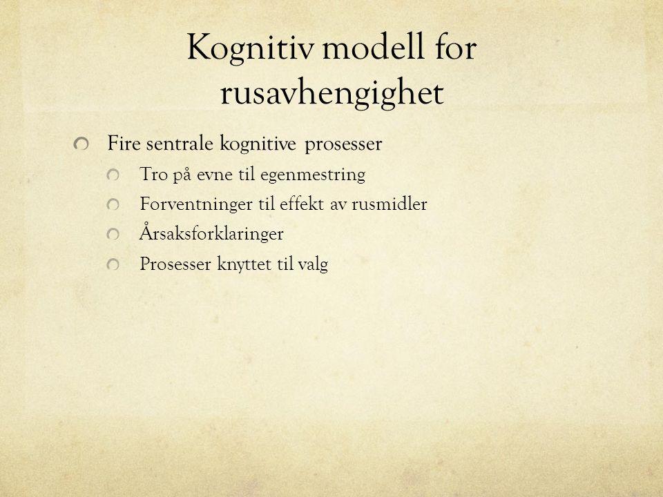 Kognitiv modell for rusavhengighet Fire sentrale kognitive prosesser Tro på evne til egenmestring Forventninger til effekt av rusmidler Årsaksforklaringer Prosesser knyttet til valg
