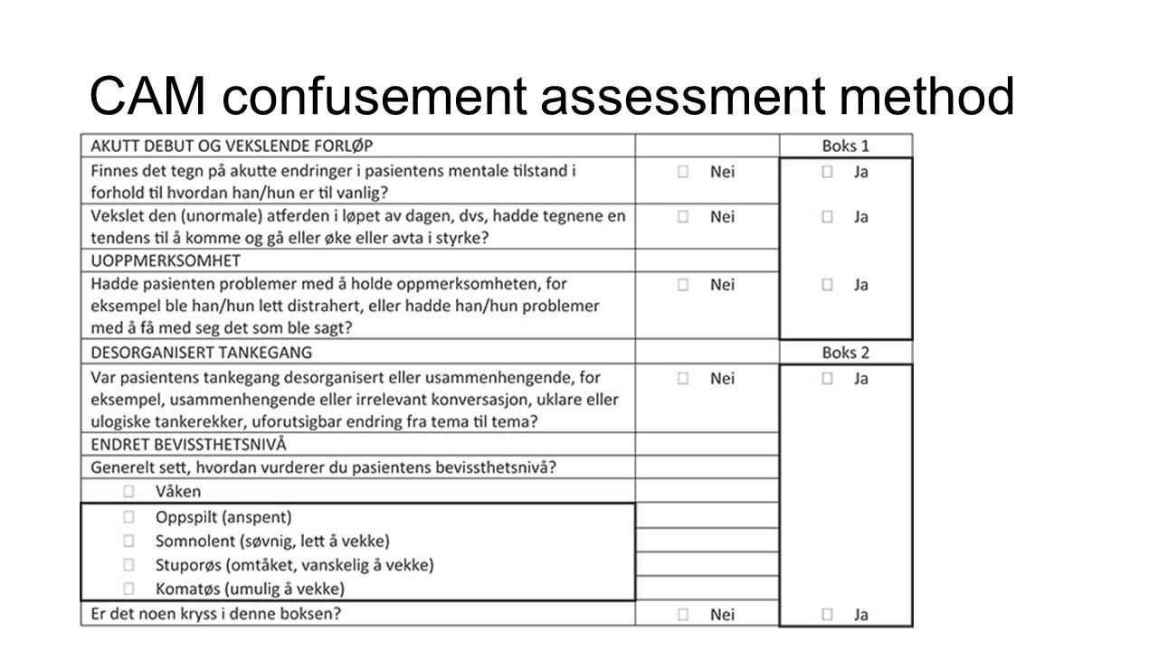 CAM confusement assessment method