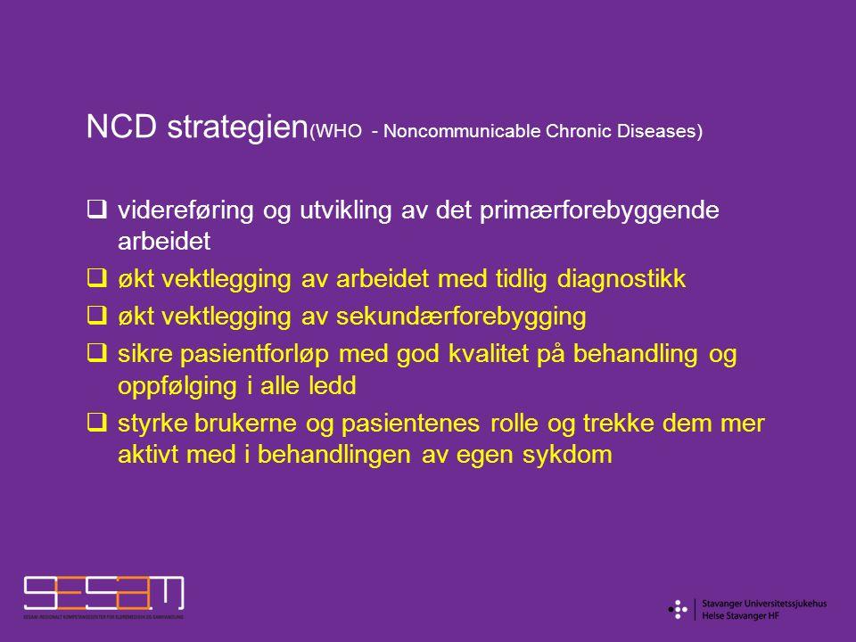 NCD strategien (WHO - Noncommunicable Chronic Diseases)  videreføring og utvikling av det primærforebyggende arbeidet  økt vektlegging av arbeidet m
