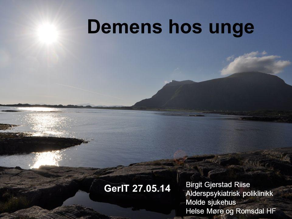 Demens hos unge Birgit Gjerstad Riise Alderspsykiatrisk poliklinikk Molde sjukehus Helse Møre og Romsdal HF GerIT 27.05.14