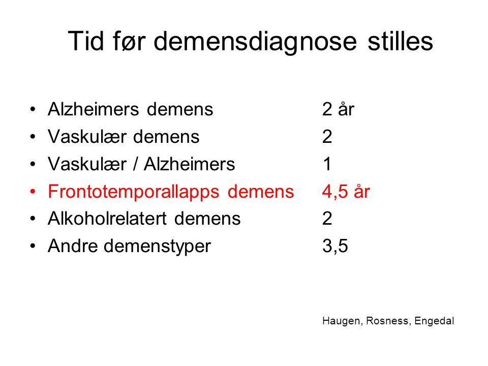 Tid før demensdiagnose stilles Alzheimers demens2 år Vaskulær demens2 Vaskulær / Alzheimers1 Frontotemporallapps demens4,5 år Alkoholrelatert demens2 Andre demenstyper3,5 Haugen, Rosness, Engedal