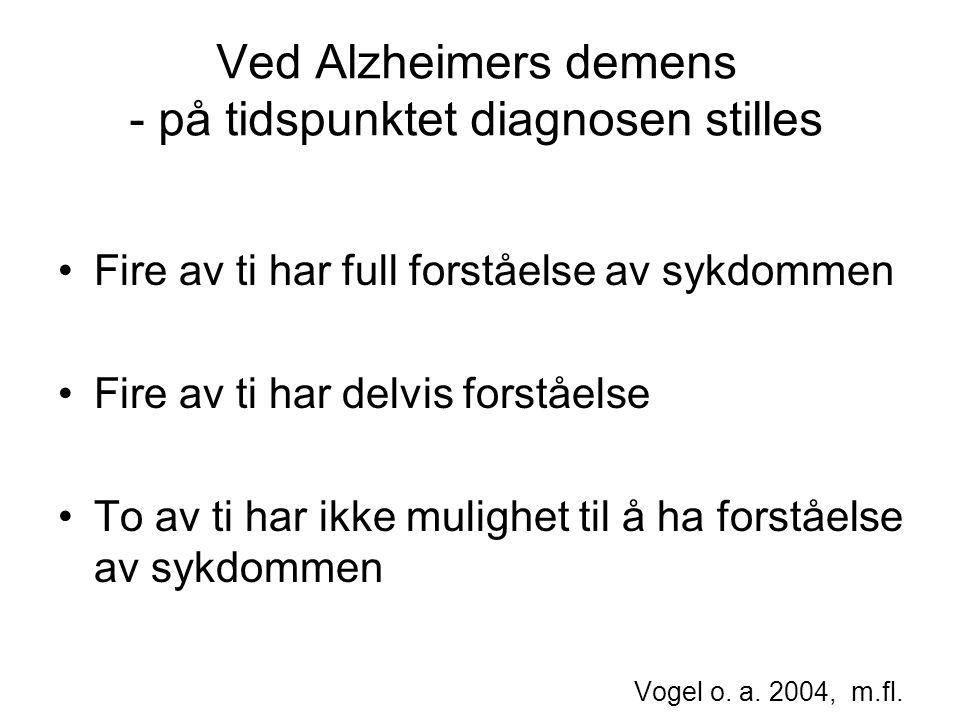 Ved Alzheimers demens - på tidspunktet diagnosen stilles Fire av ti har full forståelse av sykdommen Fire av ti har delvis forståelse To av ti har ikke mulighet til å ha forståelse av sykdommen Vogel o.