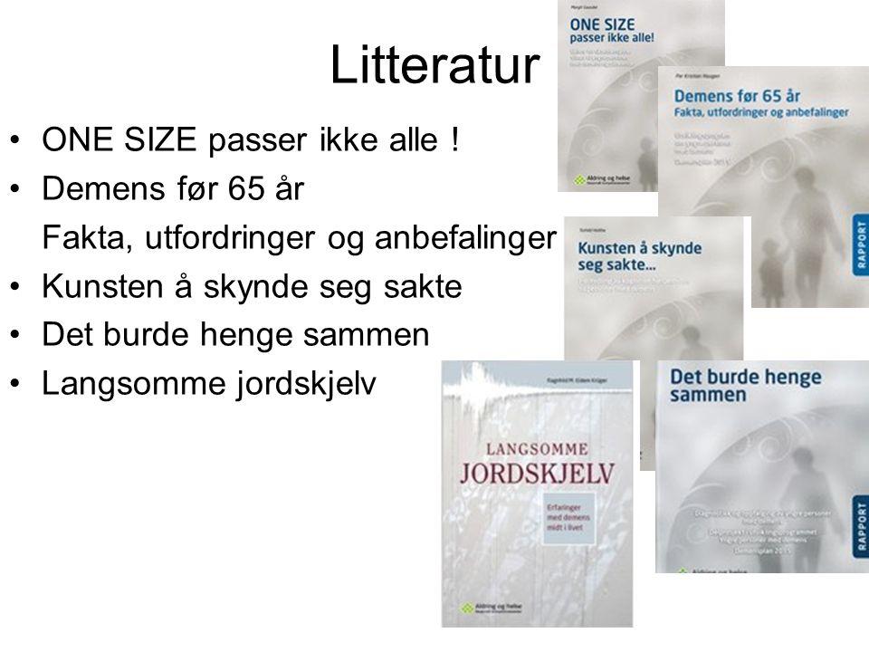 Litteratur ONE SIZE passer ikke alle ! Demens før 65 år Fakta, utfordringer og anbefalinger Kunsten å skynde seg sakte Det burde henge sammen Langsomm