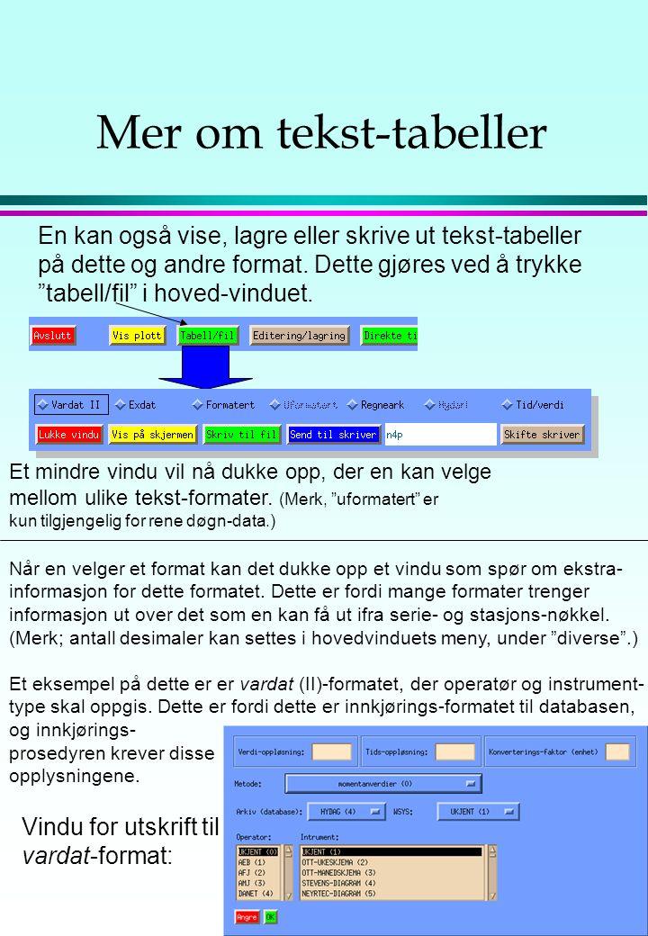 """Om skjerm-tabeller En kan også få ut data som tabeller på skjermen. Da kan man trykke """"vis formatert tabell"""". (For døgn- og måneds-oppløsning kan man"""