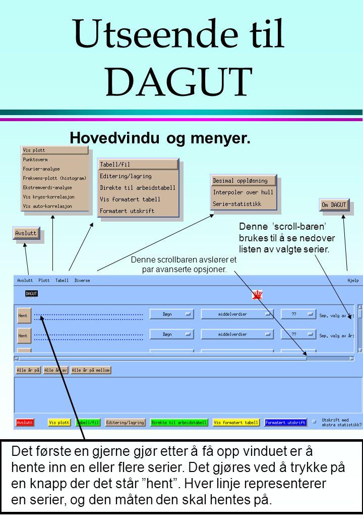 l DAGUT er et program som skal vise brukeren innholdet av våre døgn-serier. Både for målinger og avledede data. l Brukeren skal også kunne foreta enkl