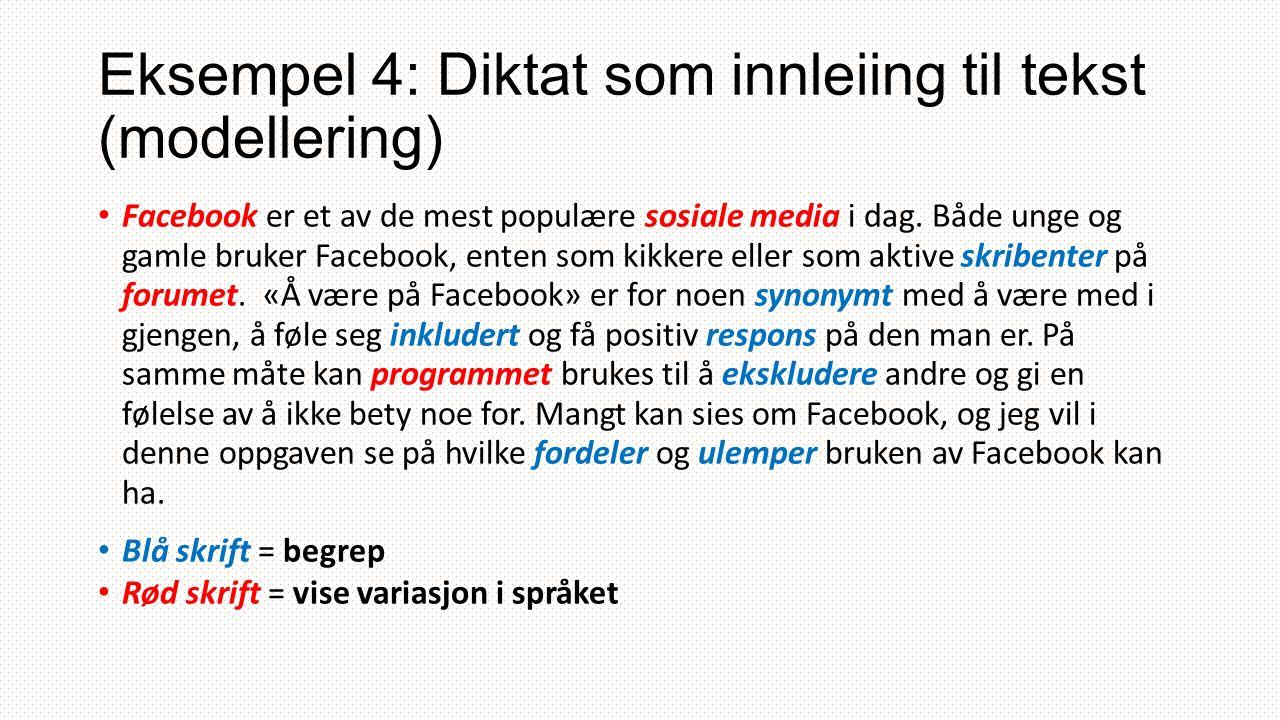 Eksempel 4: Diktat som innleiing til tekst (modellering) Facebook er et av de mest populære sosiale media i dag.