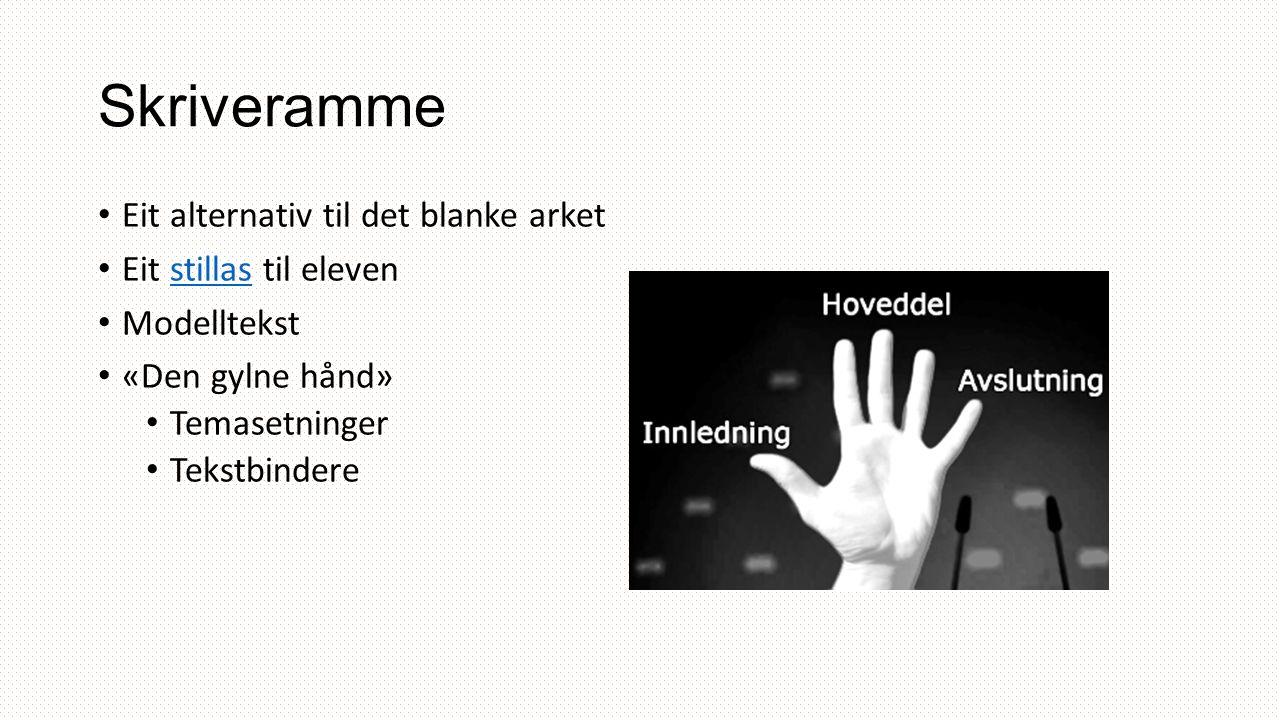 Skriveramme Eit alternativ til det blanke arket Eit stillas til elevenstillas Modelltekst «Den gylne hånd» Temasetninger Tekstbindere