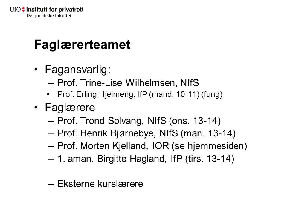 Faglærerteamet Fagansvarlig: –Prof. Trine-Lise Wilhelmsen, NIfS Prof. Erling Hjelmeng, IfP (mand. 10-11) (fung) Faglærere –Prof. Trond Solvang, NIfS (