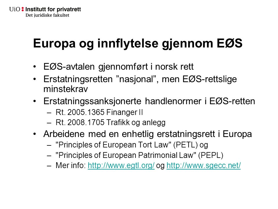 Europa og innflytelse gjennom EØS EØS-avtalen gjennomført i norsk rett Erstatningsretten nasjonal , men EØS-rettslige minstekrav Erstatningssanksjonerte handlenormer i EØS-retten –Rt.