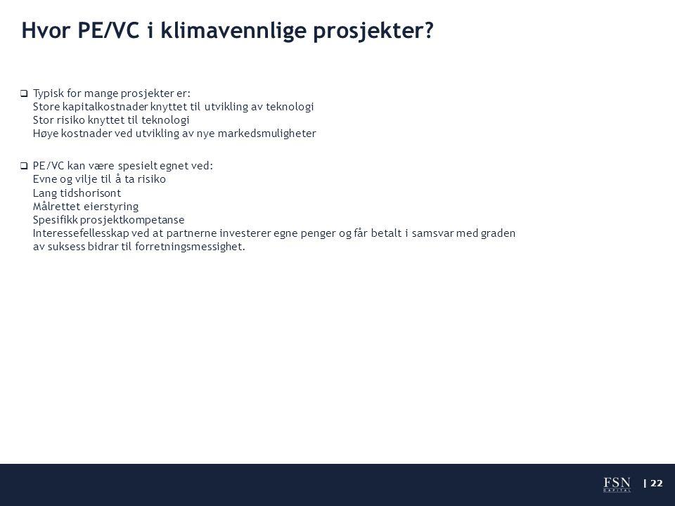 | 22 Hvor PE/VC i klimavennlige prosjekter.