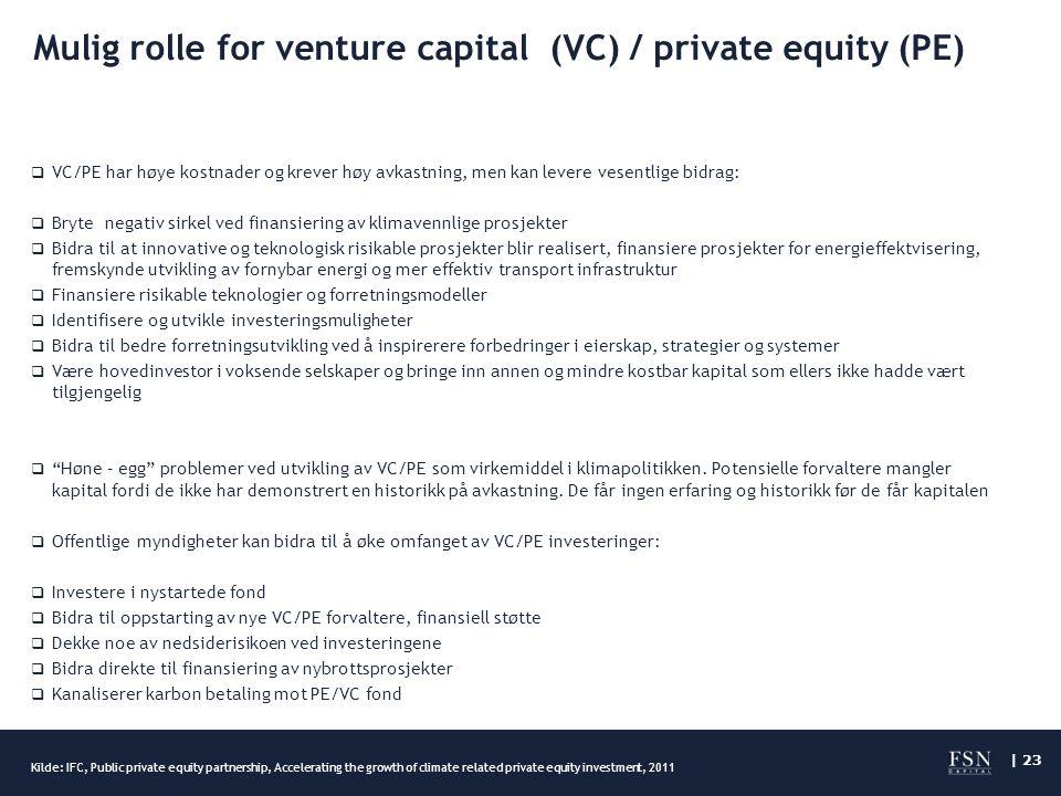 | 23 Mulig rolle for venture capital (VC) / private equity (PE)  VC/PE har høye kostnader og krever høy avkastning, men kan levere vesentlige bidrag:  Bryte negativ sirkel ved finansiering av klimavennlige prosjekter  Bidra til at innovative og teknologisk risikable prosjekter blir realisert, finansiere prosjekter for energieffektvisering, fremskynde utvikling av fornybar energi og mer effektiv transport infrastruktur  Finansiere risikable teknologier og forretningsmodeller  Identifisere og utvikle investeringsmuligheter  Bidra til bedre forretningsutvikling ved å inspirerere forbedringer i eierskap, strategier og systemer  Være hovedinvestor i voksende selskaper og bringe inn annen og mindre kostbar kapital som ellers ikke hadde vært tilgjengelig  Høne – egg problemer ved utvikling av VC/PE som virkemiddel i klimapolitikken.