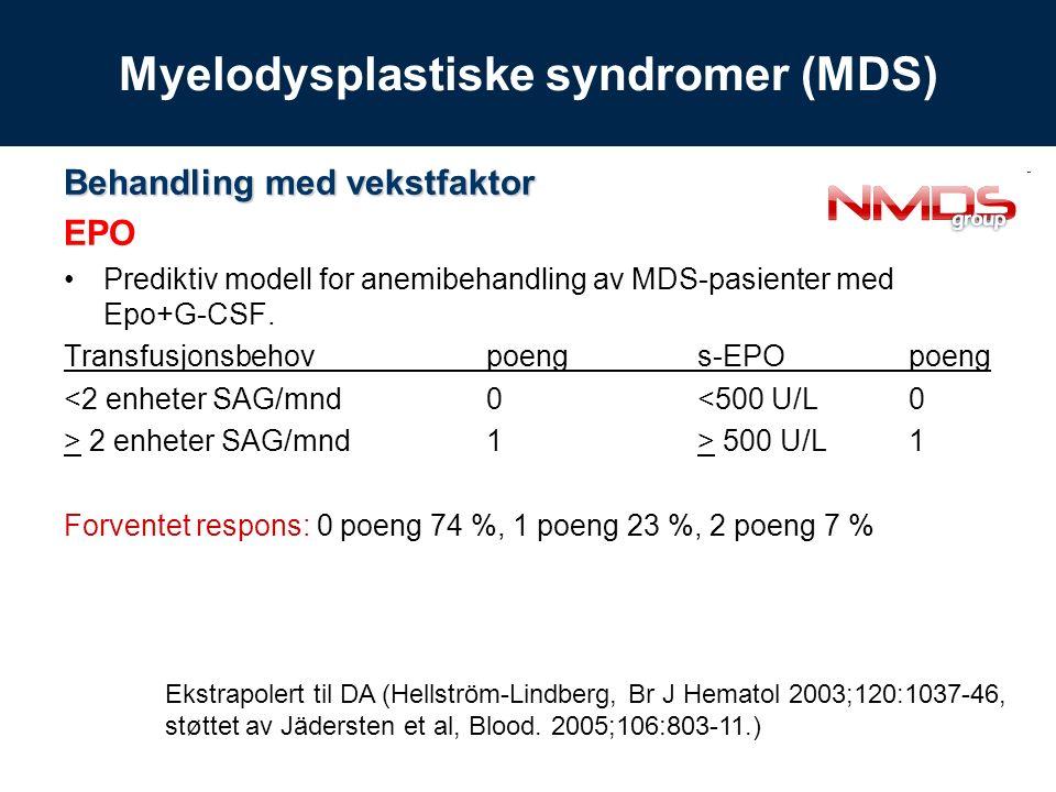 Behandling med vekstfaktor EPO Prediktiv modell for anemibehandling av MDS-pasienter med Epo+G-CSF.