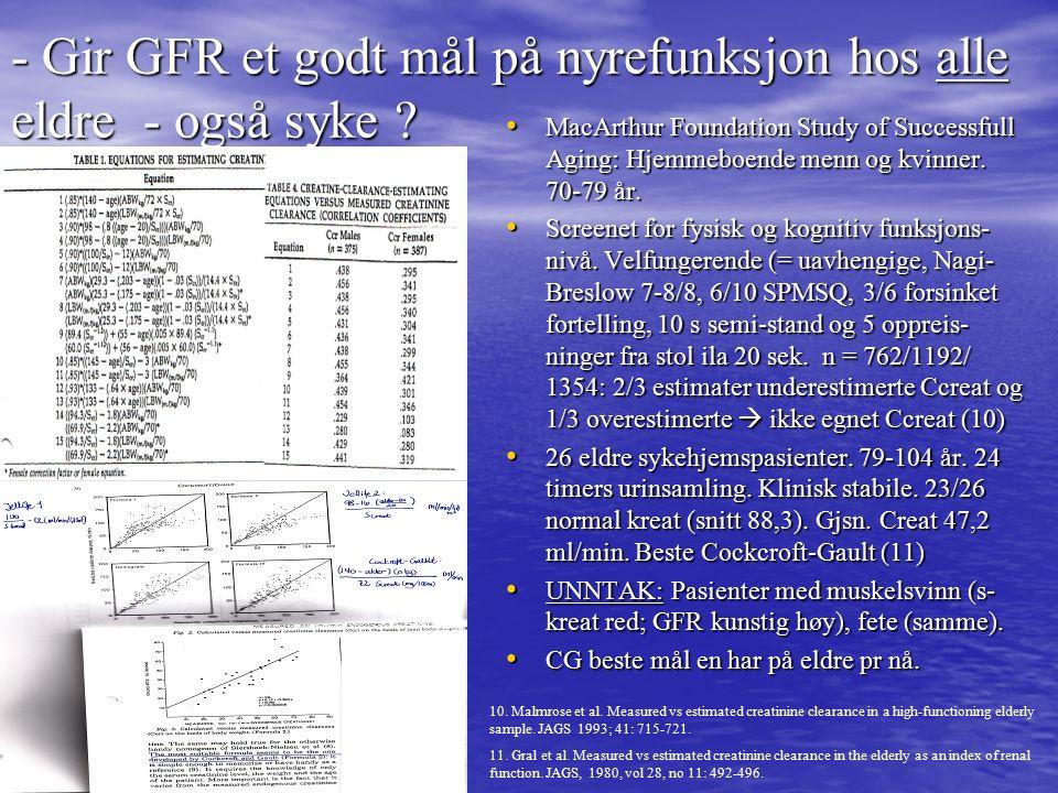 - Gir GFR et godt mål på nyrefunksjon hos alle eldre - også syke .