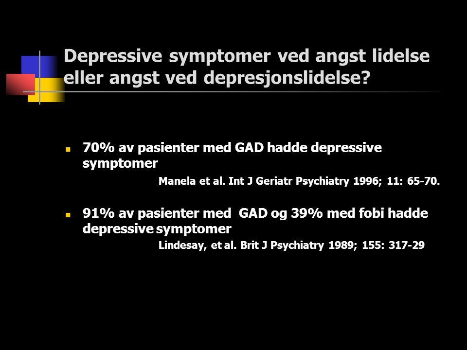 Depressive symptomer ved angst lidelse eller angst ved depresjonslidelse.
