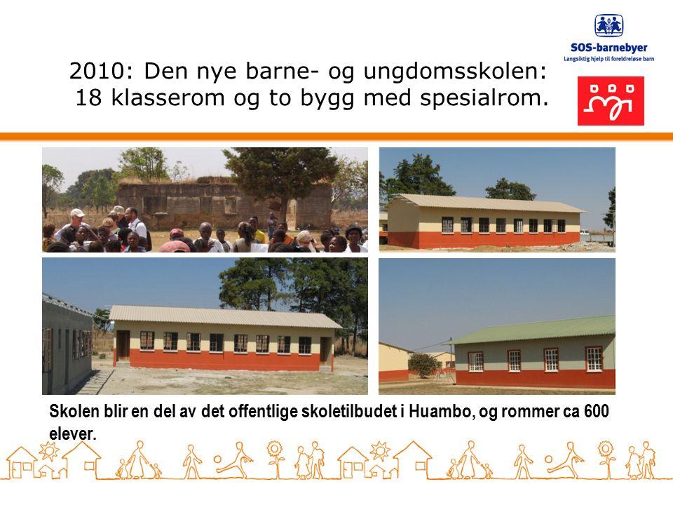 2010: Den nye barne- og ungdomsskolen: 18 klasserom og to bygg med spesialrom.