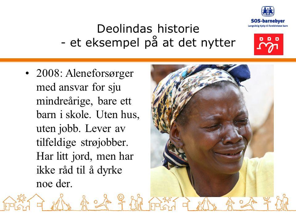 Deolindas historie - et eksempel på at det nytter 2008: Aleneforsørger med ansvar for sju mindreårige, bare ett barn i skole.