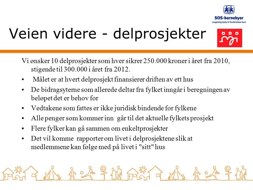 Veien videre - delprosjekter Vi ønsker 10 delprosjekter som hver sikrer 250.000 kroner i året fra 2010, stigende til 300.000 i året fra 2012.